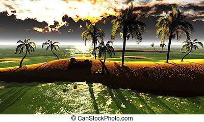 tropical, ocaso, hawaiano, paraíso