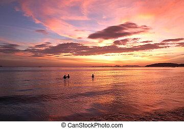 tropical, ocaso, playa