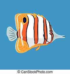 Tropical ocean butterfly fish, vector illustration