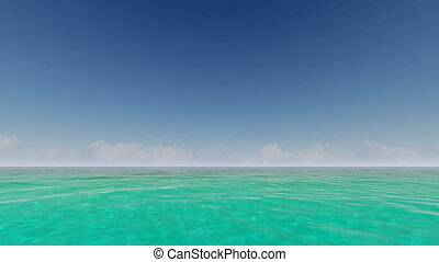 Tropical ocean with clouds on the horizon