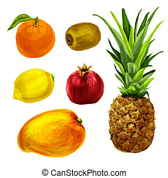 Tropical organic fruits collection
