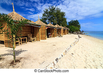 tropical, orilla, bungalow, playa, océano