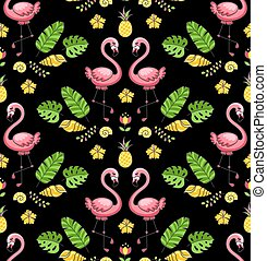 Tropical ornament with exotic flamingo birds.