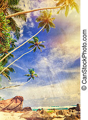 Tropical palm beach - retro styled picture