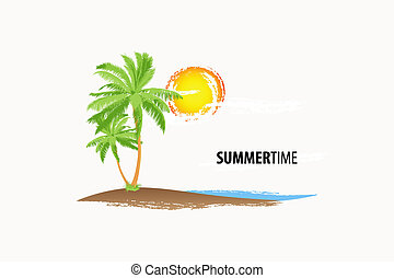 tropical palm in marine breaker and sunlight (vector...