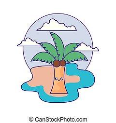 tropical palm kawaii in the beach