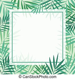 Tropical palm leaves background template