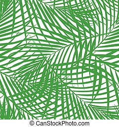 Tropical palm leaves green seamless pattern