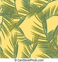 Tropical palm leaves, jungle leaves seamless vector floral pattern background
