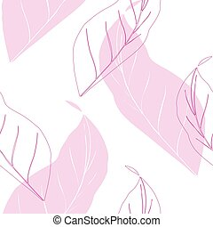 tropical palm leaves pattern, outline leaves seamless
