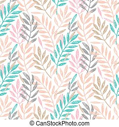 Tropical palm leaves, seamless foliage pattern