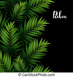 Tropical palm leaves seamless pattern border on the black background.