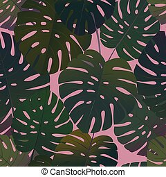 tropical palm monstera leaves seamless pattern