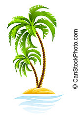 tropical palm on island illustration isolated on white background