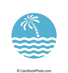 Tropical palm on island with sea. Logo