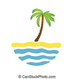 Tropical palm on island with sea. Vector logo illustration.