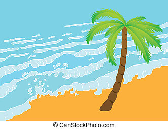 Tropical palm on the beach with sea. Vector illustration