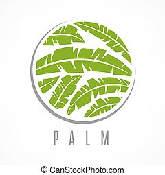 Tropical palm tree emblem green