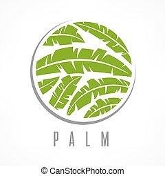 Tropical palm tree emblem green