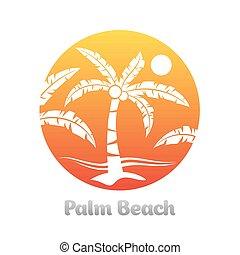 Tropical palm tree emblem orange