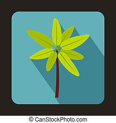 Tropical palm tree. icon, flat style