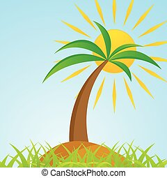 Tropical palm tree on island with shiny sun