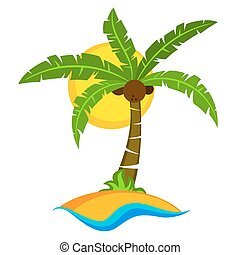 Tropical palm tree with sun
