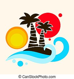 Tropical palm trees and an island in the ocean vector