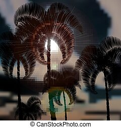 Tropical palm trees before the storm. Sun rays. illustration