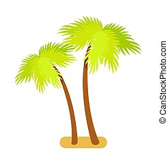 Tropical Palm Trees Collection Vector Illustration