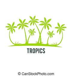 Tropical palm trees island silhouettes.