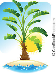 Tropical palm with sea on sunny background.
