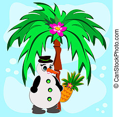 Tropical Palm with Snowman