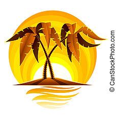 tropical, palma, en, isla, en, océano, con, ocaso