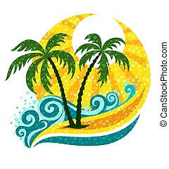 tropical, palma, en, mar, ondas, y, luz del sol