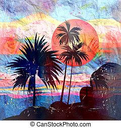 tropical, palma, paisaje, árboles, gráficos