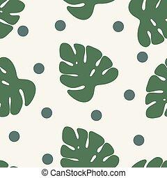 tropical, palma sale, selva, hojas, seamless, vector, patrón floral, plano de fondo