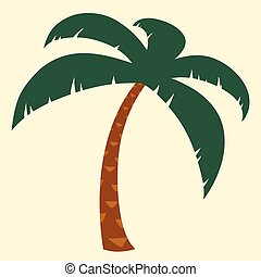 tropical, palmera, ilustración