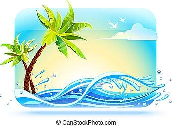 Tropical palms on beach among sea waves