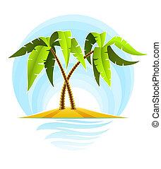 tropical palms on island in ocean