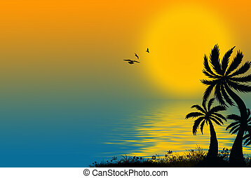 tropical palms - Sun reflection on tropical water with palm...