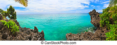 Tropical panorama - Panorama of tropical lagoon. Bohol. ...