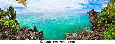 Tropical panorama - Panorama of tropical lagoon. Bohol....