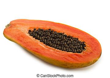 Papaya Fruit - Tropical Papaya Fruit Isolated on White...