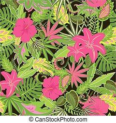 tropical, papel pintado, con, exótico, hojas, y, flores