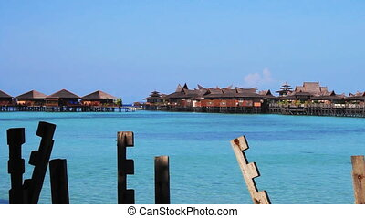 Mabul island - Tropical Paradise at Mabul island with palms...