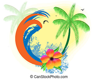 Tropical paradise background with palms, hibiscus flower and...