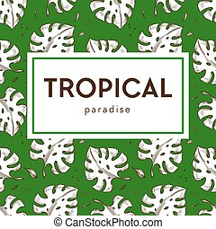 Tropical paradise banner monstera leaves seamless pattern