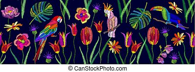 Tropical paradise border. - Wide panoramic seamless pattern...
