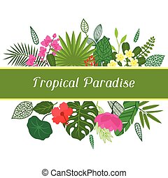 Tropical paradise card with stylized leaves and flowers.